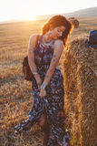 Model wearing maxi dress outdoors Stock Photography