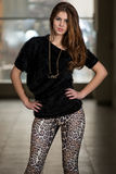 Model Wearing Pants With Animal Print Stock Photography
