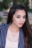 Model wearing pin stripe blazer. Royalty Free Stock Photos