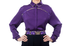 The model wearing purple blouse  on white Stock Images