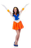 Model wearing sailor moon suit isolated on white Stock Image