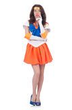 Model wearing sailor moon suit isolated on white Royalty Free Stock Photos