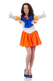 Model wearing sailor moon suit isolated on white Royalty Free Stock Photography