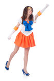 Model wearing sailor moon suit isolated on white Stock Photography