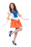 Model wearing sailor moon suit isolated on white Stock Photos