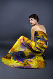 Model Wearing Tie Dye Yellow Dress Stock Images