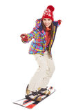 Model wearing winter suit holding a snowboard Stock Image