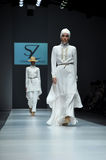 A model wears design of Itang Yunasz during the Jakarta Fashion Royalty Free Stock Images