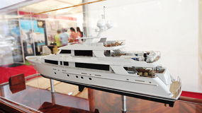 Model of Westport luxury yacht on display at the Singapore Yacht Show 2013 Royalty Free Stock Photos