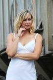 Model in White Dress Stock Image