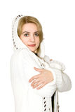 Model in a white knitted coat royalty free stock photography