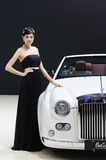 Model and White Mitsuoka galue convertible front Royalty Free Stock Photography