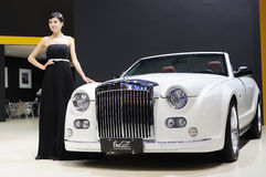 Model and White Mitsuoka galue convertible front Royalty Free Stock Images