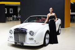 Model and White Mitsuoka galue convertible front Stock Photo