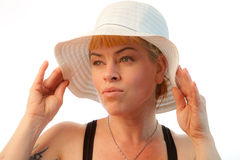 Model In White Summer Hat Royalty Free Stock Image