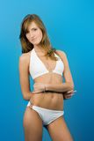 Model in white swimsuit Royalty Free Stock Image