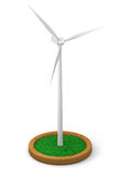 Model of wind turbine. With grassy patch on wooden stand with white background Royalty Free Stock Image