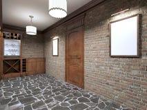 Model witte affiche op de kelder van de bakstenen muurwijn vector illustratie