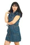 Model woman in denim dress Stock Photos