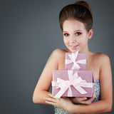 Model Woman with Gifts Royalty Free Stock Photography