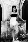 Model woman Drees white  And black Royalty Free Stock Photo