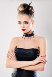 Model Woman In Black Сorset Royalty Free Stock Images