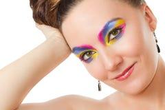 Model woman with rainbow eyeshadow Stock Images