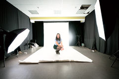 Model woman in the studio. Royalty Free Stock Photos