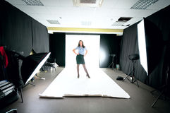 Model woman in the studio. Royalty Free Stock Photo