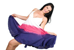 Model woman in summer dress stock photography