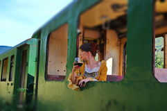 Model woman in a vintage train royalty free stock photo