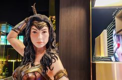 Model of Wonder Woman from The movie Wonder Woman 2017 film displays at the theater. Bangkok, Thailand - Feb 4, 2019: Model of Wonder Woman from The movie Wonder stock image