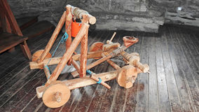 Model of wooden catapult Royalty Free Stock Photo