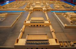 Model of the wooden construction sand table of the Forbidden City in Beijing, China stock images
