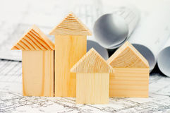 Model of the wooden house on the project Royalty Free Stock Photos