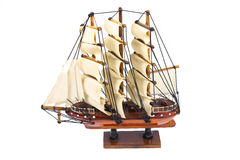 Model wooden ship isolated on white background. Royalty Free Stock Photos
