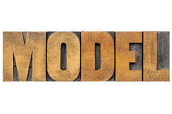 Model word typography in letterpress wood type Royalty Free Stock Photos