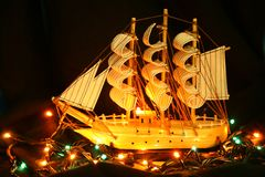 The model yachts, lighted lanterns Royalty Free Stock Images