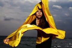 Model, Yellow, Fabric, Wind Stock Photography