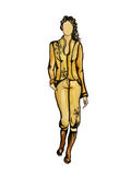 Model in yellow suit. One illustration from my set of fashion illustratoins Royalty Free Stock Photos