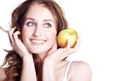 Model z jabłkiem Obrazy Royalty Free