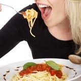 Model z spaghetti Fotografia Royalty Free