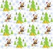 Modela el mono feliz 2016, el árbol de navidad y porciones de copo de nieve Fotografía de archivo