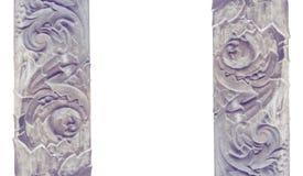 Modelado arquitectónico tallado de la decoración de piedra aislado en un fondo blanco Fotografía de archivo