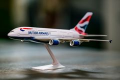 ModelAirplane van een Luchtbus A380, British Airways stock foto