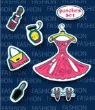 Modelappuppsättning Modern pop Art Stickers Klänningen spikar polermedel, hänger löst, parfymerar, läppstift också vektor för cor Arkivfoto