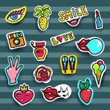 Modelappuppsättning Modern pop Art Stickers också vektor för coreldrawillustration Arkivbilder