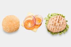 Modelbbq de horizontale geïsoleerde reeks van Hamburgerdelen Stock Afbeeldingen