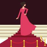 Modelberoemdheid op het rode wijfje van de tapijtvrouw van achter mooie ingang vector illustratie