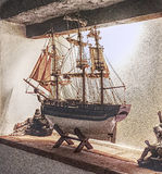 Modelboot die de korrels accentueren Royalty-vrije Stock Afbeelding